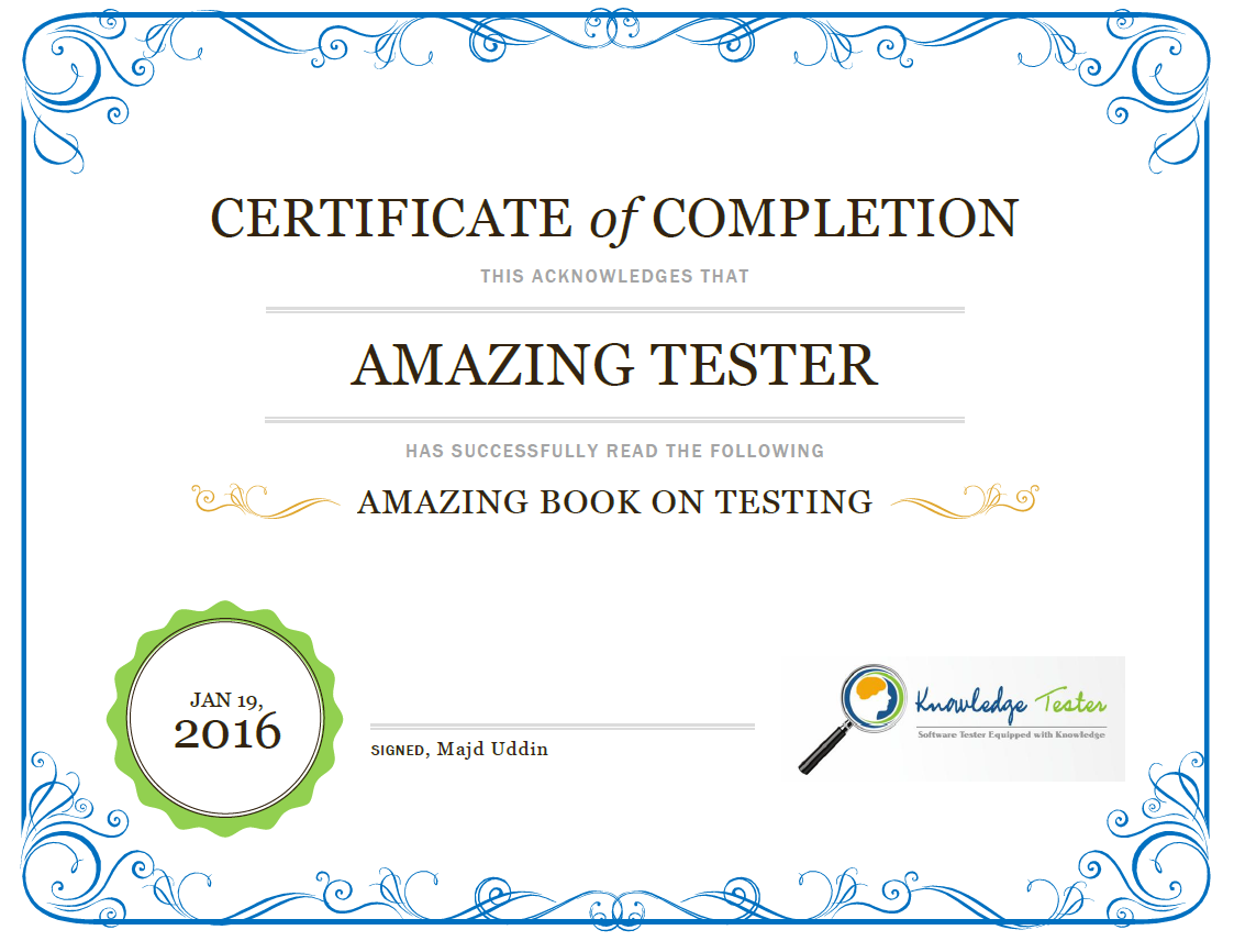 Become Certified Book Reading Tester